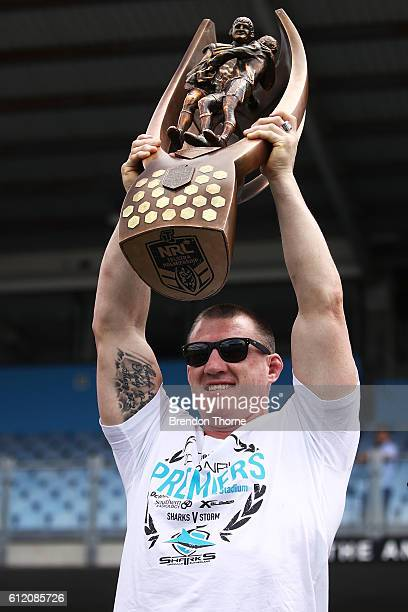 Paul Gallen of the Sharks holds aloft the Premiership Trophy after winning the 2016 NRL Grand Final during the Cronulla Sharks NRL Grand Final...