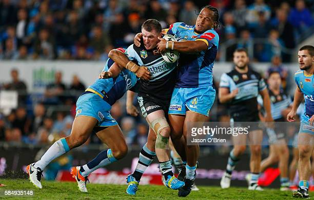 Paul Gallen of the sharks in action during the round 21 NRL match between the Gold Coast Titans and the Cronulla Sharks at Cbus Super Stadium on...