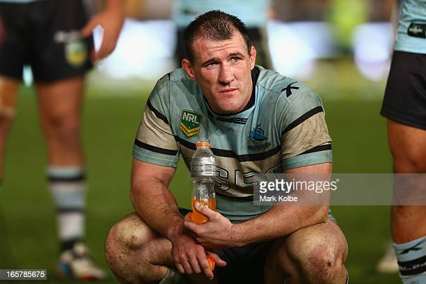Paul Gallen of the Sharks looks dejected after defeat during the round five NRL match between the Parramatta Eels and the Cronulla Sharks at...