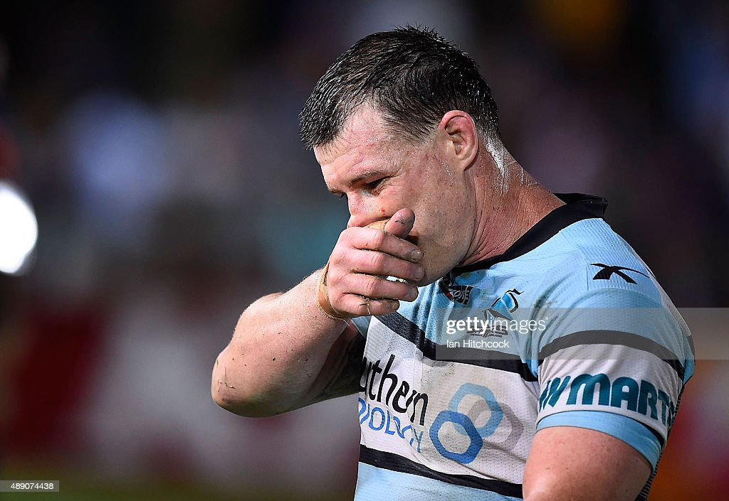 Paul Gallen of the Sharks looks dejected after losing the Second NRL Semi Final match between the North Queensland Cowboys and the Cronulla Sharks at 1300SMILES Stadium on September 19, 2015 in Townsville, Australia.