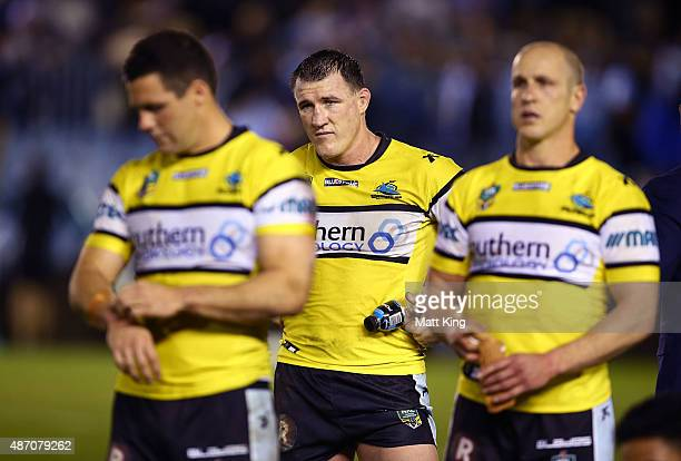 Paul Gallen of the Sharks looks dejected after the round 26 NRL match between the Cronulla Sharks and the Manly Sea Eagles at Remondis Stadium on...