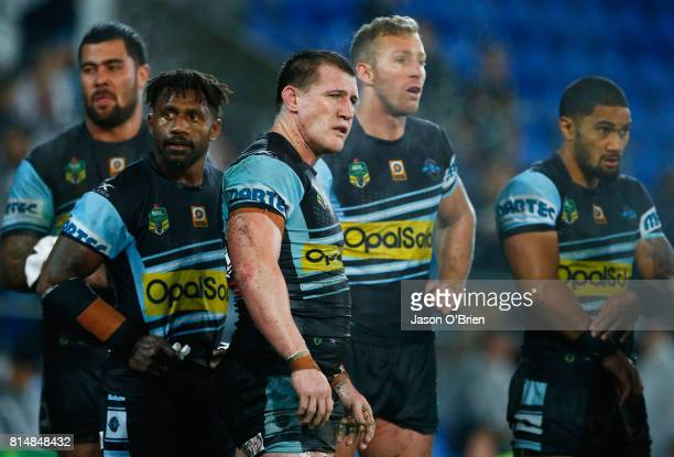 Paul Gallen of the Sharks looks on during the round 19 NRL match between the Gold Coast Titans and the Cronulla Sharks at Cbus Super Stadium on July...
