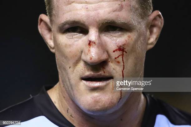 Paul Gallen of the Sharks looks on during the round two NRL match between the Cronulla Sharks and the St George Illawarra Dragons at Southern Cross...