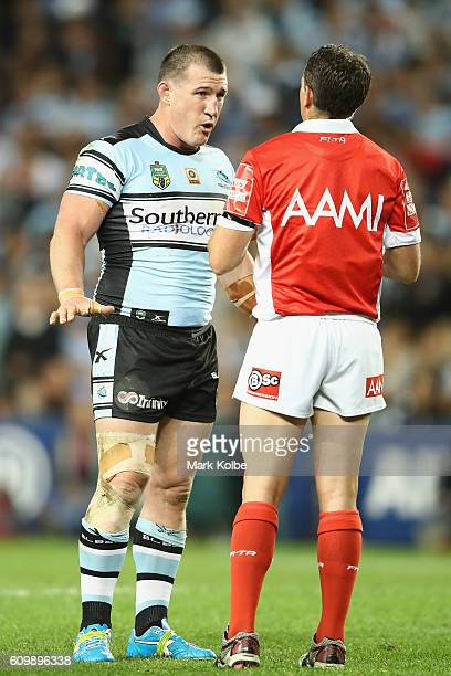 Paul Gallen of the Sharks makes his point to referee Gerard Sutton during the NRL Preliminary Final match between the Cronulla Sharks and the North...