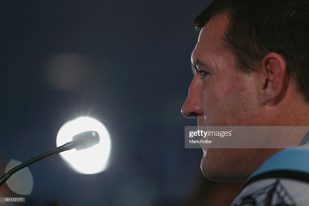 Paul Gallen of the Sharks speaks to the media during the 2012 NRL finals series launch at Allianz Stadium on September 3, 2012 in Sydney, Australia.
