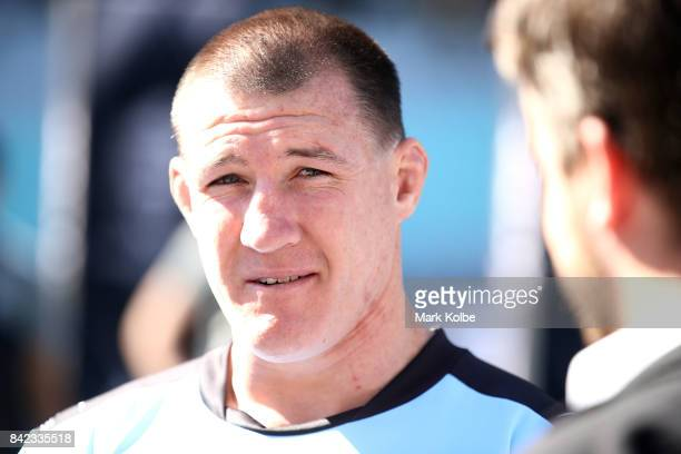 Paul Gallen of the Sharks speaks to the media during the 2017 NRL Finals Series Launch at ANZ Stadium on September 4 2017 in Sydney Australia