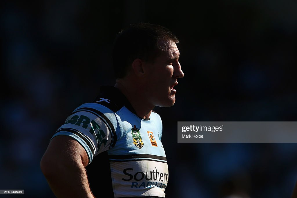 Paul Gallen of the Sharks watches on during the round six NRL match between the Cronulla Sharks and the Gold Coast Titans at Southern Cross Group Stadium on April 10, 2016 in Sydney, Australia.