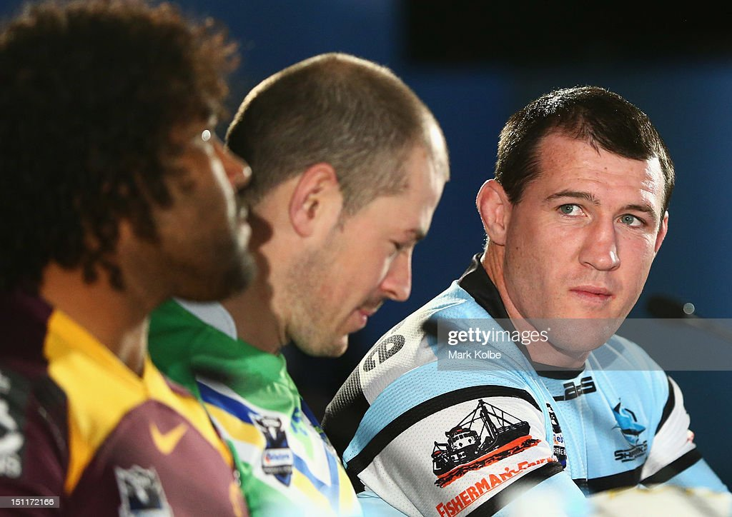 Paul Gallen of the Storm looks on as the captains speak to the media during the 2012 NRL finals series launch at Allianz Stadium on September 3, 2012 in Sydney, Australia.