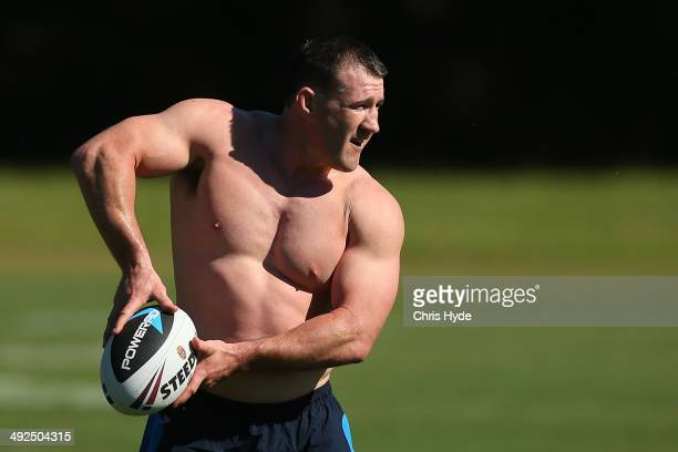 Paul Gallen passes during a New South Wales Blues State of Origin training session at Novotel Coffs Harbour on May 21 2014 in Coffs Harbour Australia