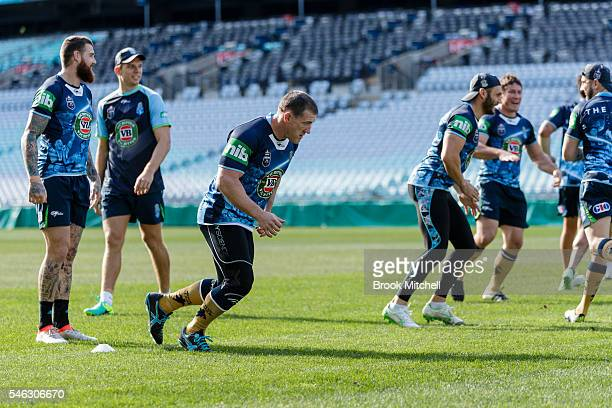 Paul Gallen performs drills during the New South Wales Blues State of Origin captain's run at ANZ Stadium on July 12 2016 in Sydney Australia
