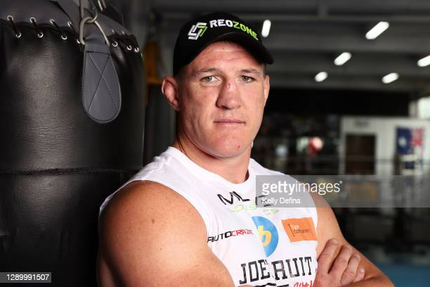 Paul Gallen poses during a media opportunity ahead of Sydney Super Fight, at North Melbourne Boxing and Fitness on December 08, 2020 in Melbourne,...