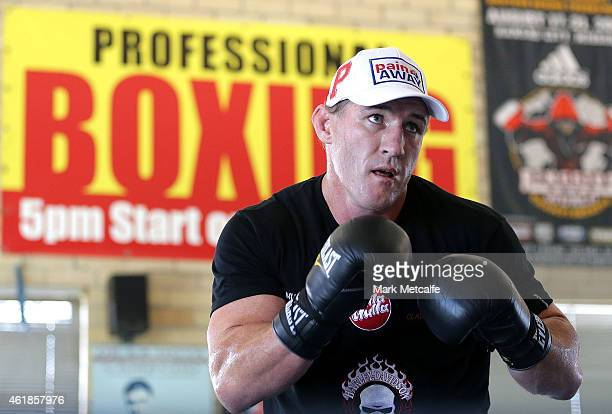 Paul Gallen spars with his trainer during an open training session at Kostya Tszyu's Gymnasium on January 21 2015 in Sydney Australia