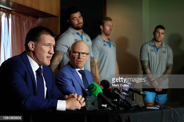 Paul Gallen speaks to the media alongside Sharks CEO Barry Russell and players during a Cronulla Sharks NRL press conference at Sharks Leagues Club...
