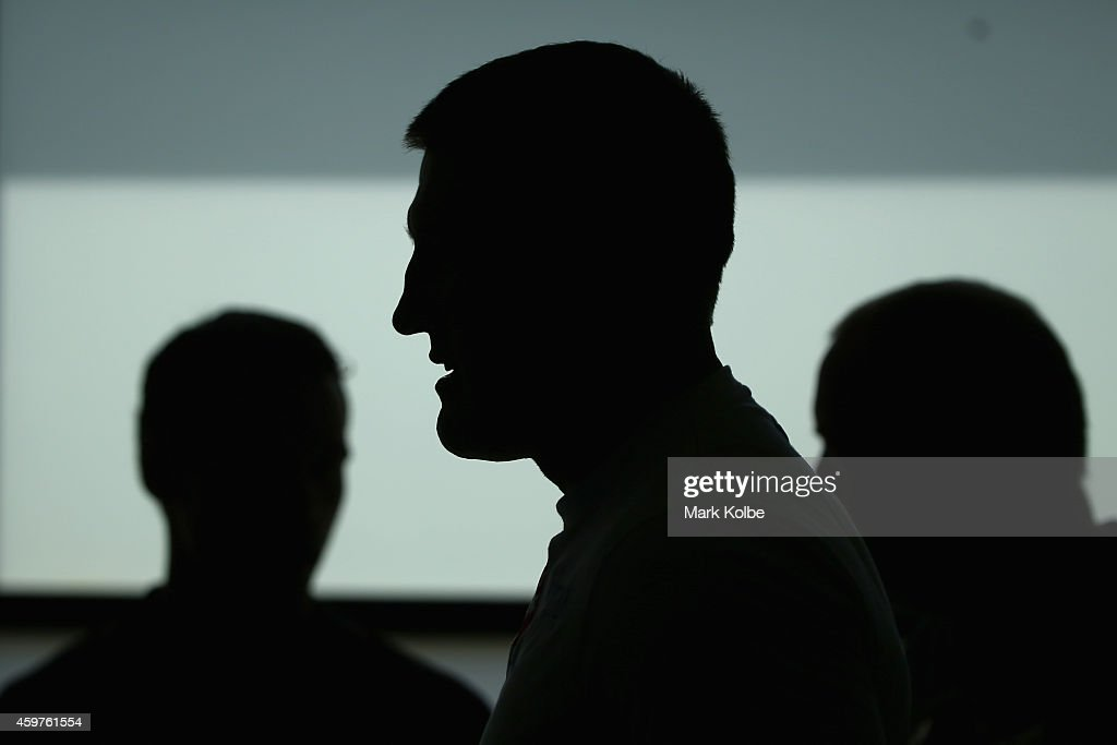 Paul Gallen waits for the start of a press conference ahead of the Geale v Fletcher fight night at the Hordern Pavilion on December 1, 2014 in Sydney, Australia.