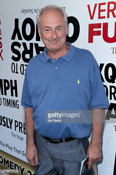 """Paul Gambaccini attends a press night for LAMDA's """"The Play That Goes Wrong"""" at the Duchess Theatre on July 7, 2015 in London, England."""