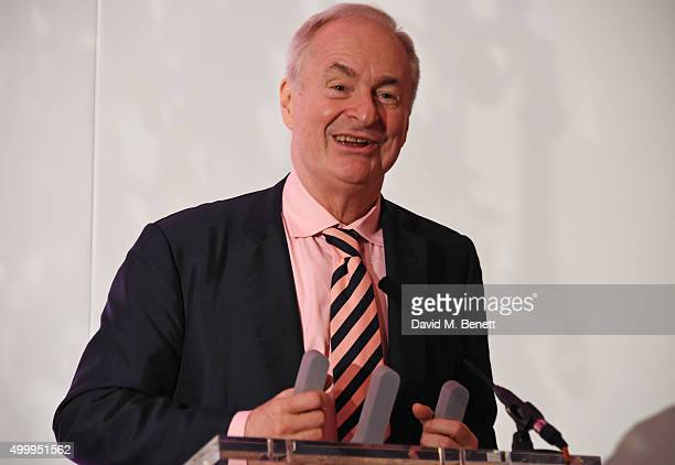 Paul Gambaccini speaks onstage at the Winq Magazine Men of the Year lunch to benefit the Elton John Aids Foundation at The Mandarin Oriental Hyde...