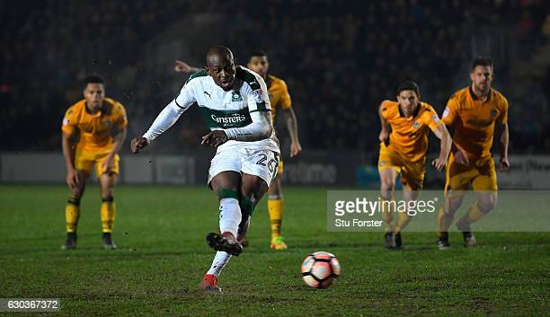 Paul Garita of Plymouth misses his penalty during extra time during The Emirates FA Cup Second Round Replay between Newport County and Plymouth...