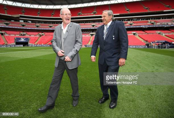 Paul Gascoigne and Gary Mabbutt walk around the pitch prior to the Premier League match between Tottenham Hotspur and Leicester City at Wembley...