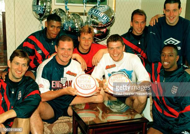 Paul Gascoigne and Lee Sharpe celebrate their birthdays while on England duty on May 27, 1993 in Chorzow, Poland. Players surrounding them are Tony...