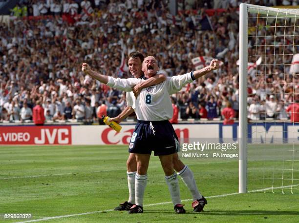 Paul Gascoigne celebrates his goal with Teddy Sheringham in the Euro 96 clash against Scotland, at Wembley. R/I Gascoigne was alleged to have...