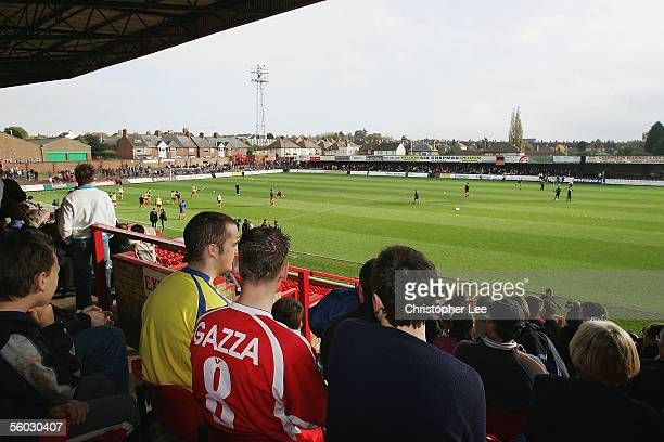 Paul Gascoigne fan sits in the crowd during the Nationwide Conference North match between Kettering Town and Droylsden at Rockingham Road on October...