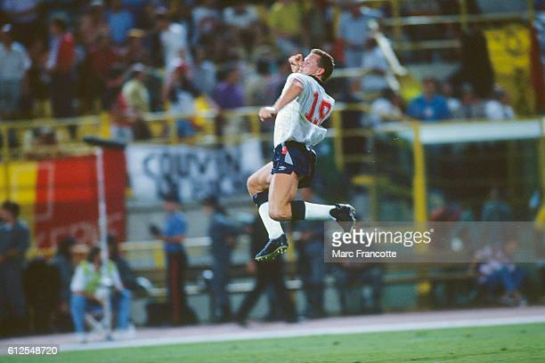 Paul Gascoigne from England celebrates a goal for his team during a round of 16 game against Belgium of the 1990 FIFA World Cup
