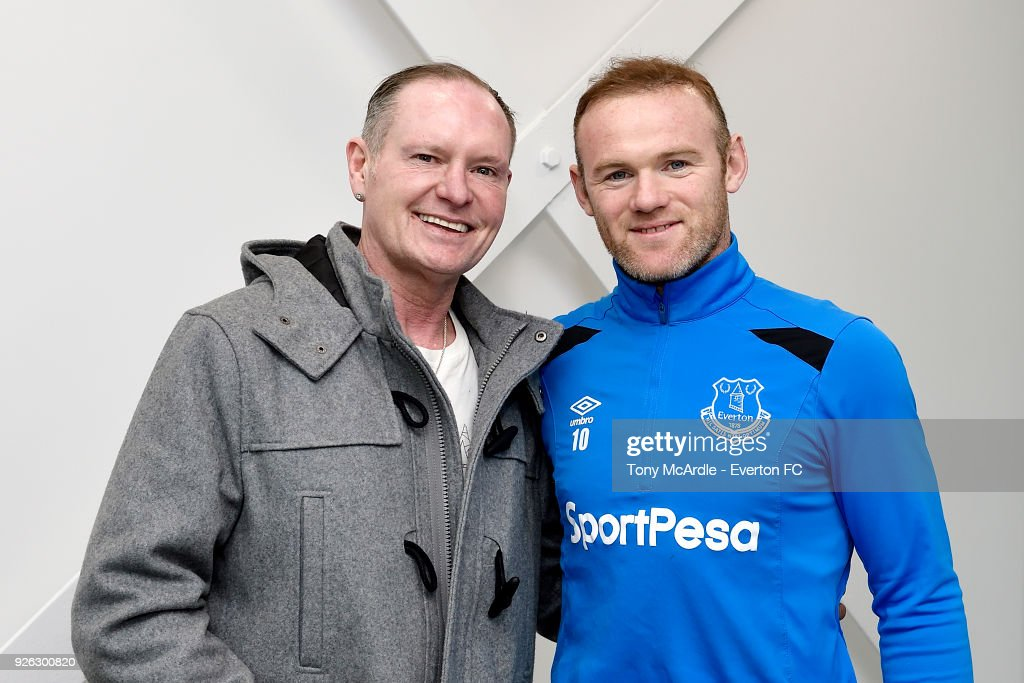 Paul Gascoigne meets Wayne Rooney of Everton at USM Finch Farm on March 2, 2018 in Halewood, England.