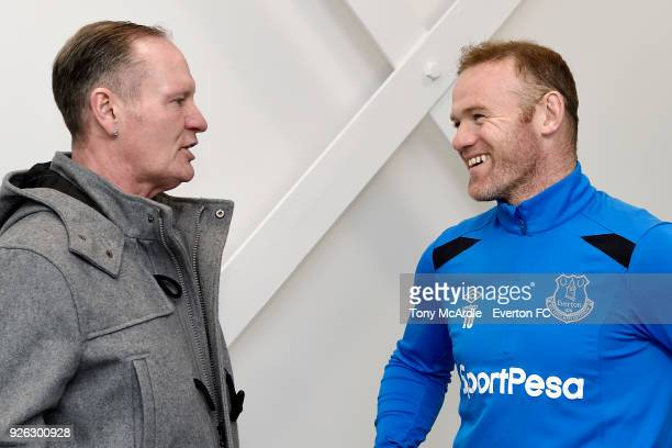 Paul Gascoigne meets Wayne Rooney of Everton at USM Finch Farm on March 2 2018 in Halewood England