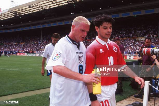 Paul Gascoigne of England and Ciriaco Sforza of Swtizerland during the European Championship match between England and Switzerland at Wembley Stadium...