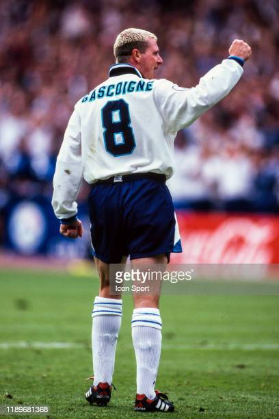 Paul Gascoigne of England celebrate his victory during the Quarter Final of European Championship match between Spain and England at Wembley Stadium...