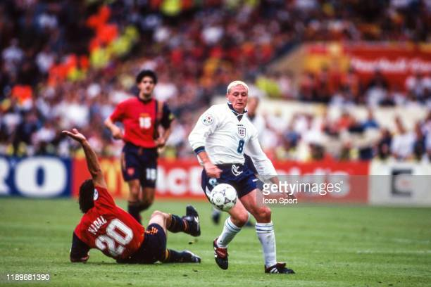 Paul Gascoigne of England during the Quarter Final of European Championship match between Spain and England at Wembley Stadium London England on 22...