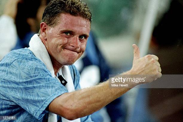 Paul Gascoigne of Lazio gives the thumbs up sign during his debut match Mandatory Credit Mike Hewitt/Allsport