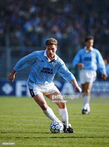 Paul Gascoigne of Lazio in action during a Serie A match between Lazio and AC Milan at the Olympic Stadium on March 13 1993 in Rome Italy