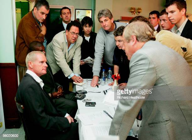 Paul Gascoigne talks to the press as he is announced as manager of Kettering Town as his consortium takes over the club after having an offer...