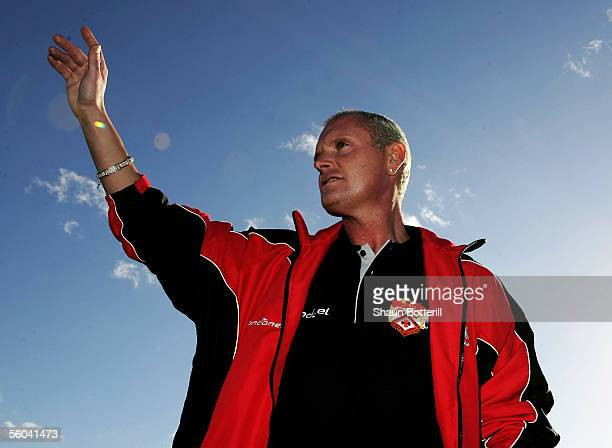 Paul Gascoigne the Kettering Town manager waves during the Nationwide FA Cup Photocall at Brambleside Community Primary School on November 1 2005 in...