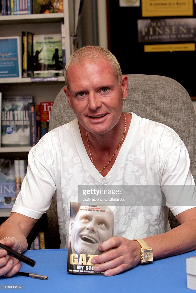 Paul Gascoigne with his book 'My Story' *Exclusive Coverage*