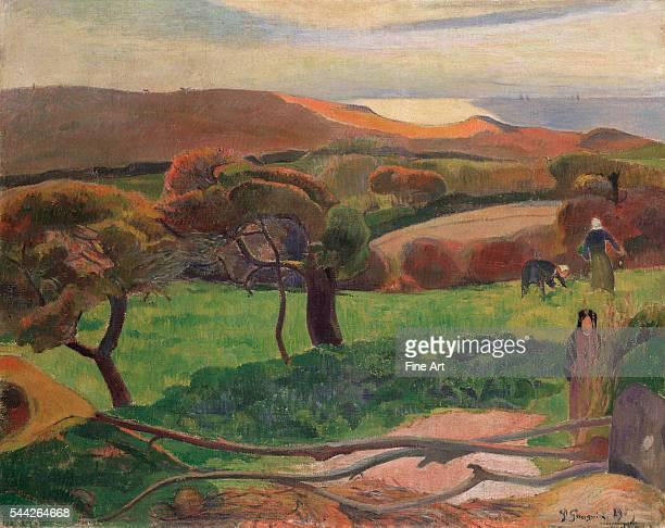 Paul Gauguin , Landscape from Bretagne oil on canvas, 72.5 x 91 cm , Nationalmuseum, Stockholm, Sweden.