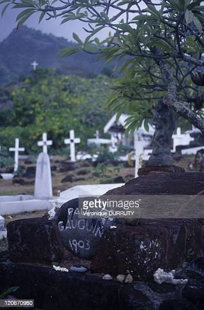 Paul Gauguin's grave, Atunoa cemetery on Hiva Hoa island, Marquesas archipelago in French Polynesia - In this cemetery are the graves of the painter...