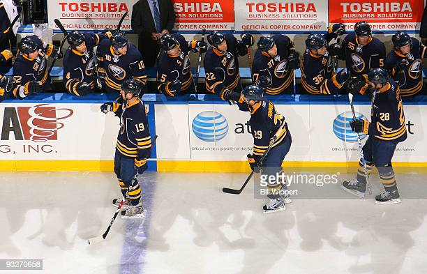 Paul Gaustad of the Buffalo Sabres celebrates his first period goal against the Boston Bruins on November 20 2009 at HSBC Arena in Buffalo New York...