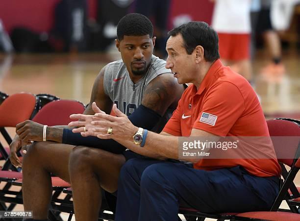 Paul George of the 2016 USA Basketball Men's National Team talks with head coach Mike Krzyzewski of the 2016 USA Basketball Men's National Team...