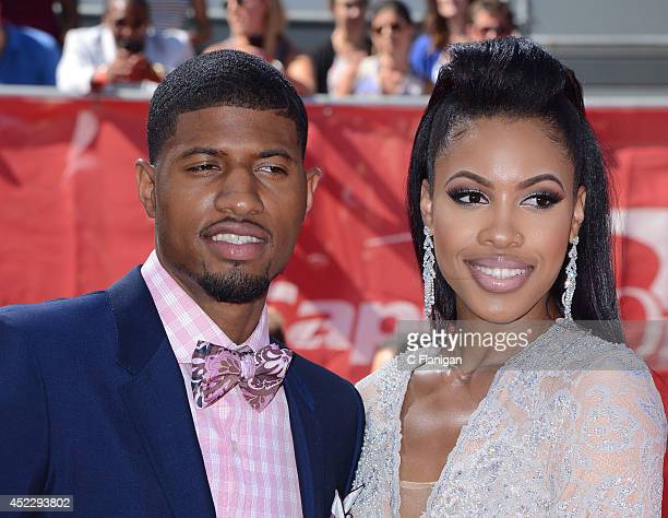 Paul George and guest attend the 2014 ESPY Awards at Nokia Theatre LA Live on July 16 2014 in Los Angeles California