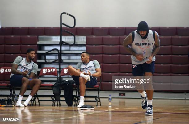 Paul George and Russell Westbrook and Carmelo Anthony of the Oklahoma City Thunder during shoot around as part of the NBA Mexico Games 2017 on...