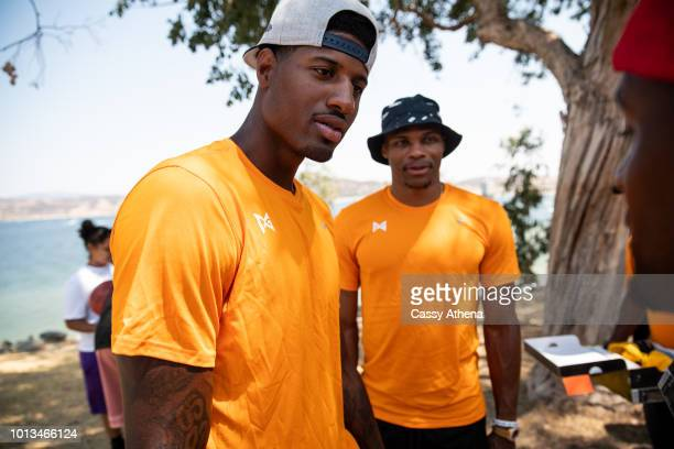 Paul George and Russell Westbrook attend the 2nd annual Paul George fishing tournament at Castaic Lake on August 4 2018 in Los Angeles California