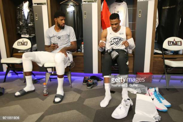 Paul George and Russell Westbrook of Team LeBron before the game against Team Stephen during the NBA AllStar Game as a part of 2018 NBA AllStar...