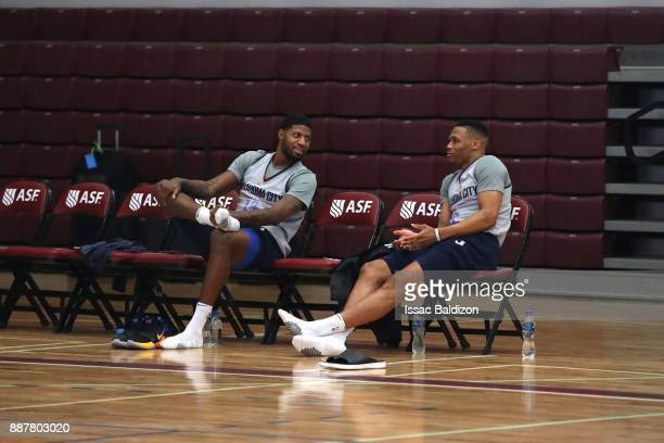 Paul George and Russell Westbrook of the Oklahoma City Thunder during shoot around as part of the NBA Mexico Games 2017 on December 7 2017 at the...