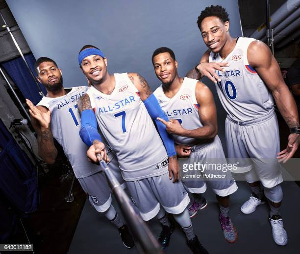 Paul George Carmelo Anthony Kyle Lowry and DeMar DeRozan of the Eastern Conference AllStars poses for a portrait during the NBA AllStar Game as part...