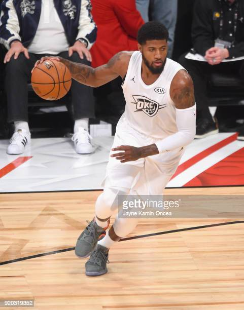 Paul George drives during the NBA AllStar Game 2018 at Staples Center on February 18 2018 in Los Angeles California