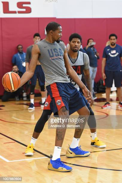 Paul George guards Kevin Durant during USAB Minicamp at Mendenhall Center on the University of Nevada Las Vegas campus on July 27 2018 in Las Vegas...