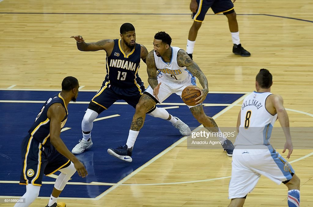 Paul George (L) of Indiana Pacers and Jamal Murray (R) of Denver Nuggets in action during the NBA match between Denver Nuggets vs Indiana Pacers at the O2 arena in London, United Kingdom on January 12, 2017.
