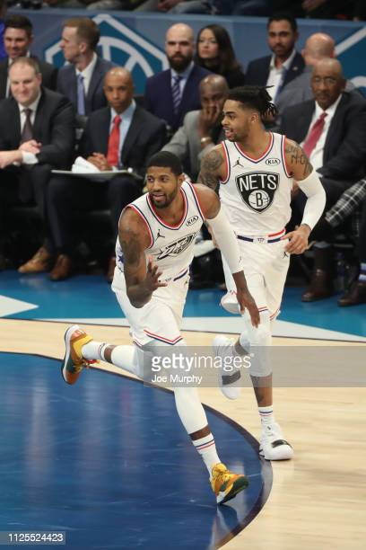 Paul George of Team Giannis celebrates during the 2019 NBA AllStar Game on February 17 2019 at the Spectrum Center in Charlotte North Carolina NOTE...